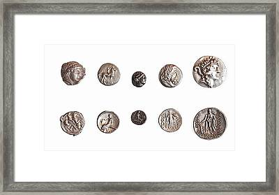 Ancient Greek Coins 1st - 3rd Century Framed Print by Science Photo Library