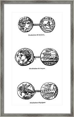 Ancient Greek Coins Framed Print by Science Photo Library