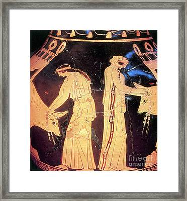 Ancient Greek Preparation Ofi Framed Print by Photo Researchers
