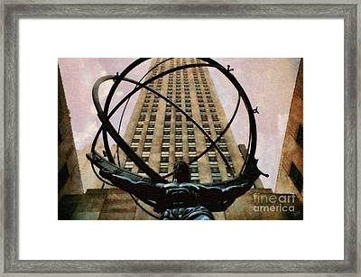 Ancient Greek Titan Atlas Holding The Heavens Framed Print by Nishanth Gopinathan