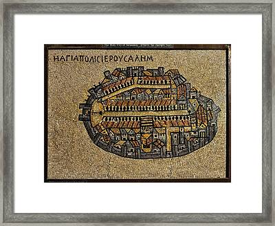 Ancient Jerusalem Mosaic Map Color Framed Framed Print