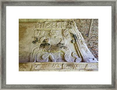 Ancient Mayan Carving Framed Print by Ellen Thane