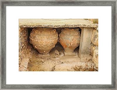 Ancient Minoan Jars At Phaistios In Crete Framed Print