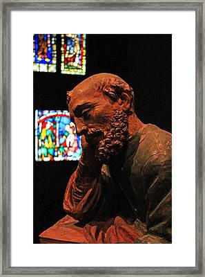 Ancient Monk Statue Framed Print