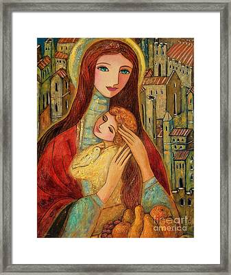 Ancient Mother And Son Framed Print by Shijun Munns