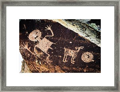 Ancient Native American Petroglyphs Framed Print