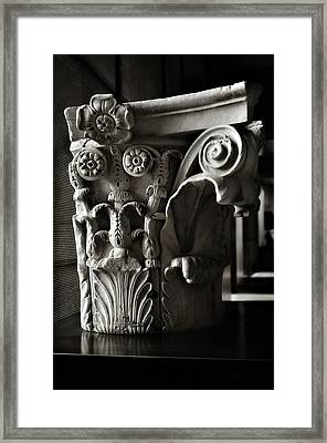 Ancient Roman Column In Black And White Framed Print by Angela Bonilla