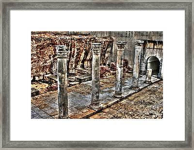 Ancient Roman Columns In Israel Framed Print by Doc Braham