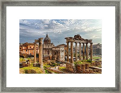 Ancient Roman Forum Ruins - Impressions Of Rome Framed Print by Georgia Mizuleva
