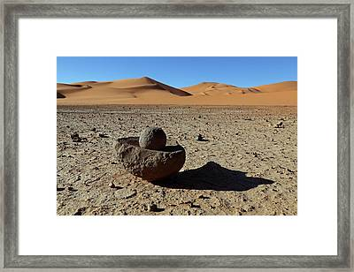 Ancient Saharan Mill Stone Framed Print by Martin Rietze