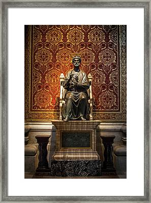 Ancient Statue Of Saint Peter, St Framed Print by Reynold Mainse