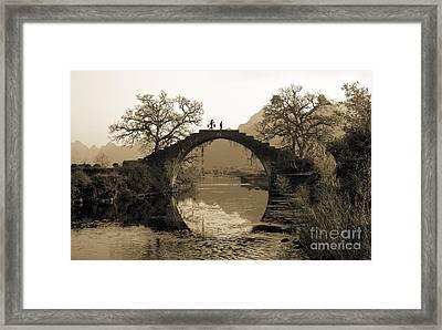 Ancient Stone Bridge Framed Print by King Wu