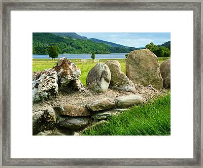 Ancient Stone Wall At Loch Achray Framed Print