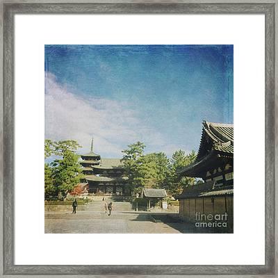 Ancient Temple And Pagoda Of Horyu-ji In Nara Japan Framed Print by Beverly Claire Kaiya