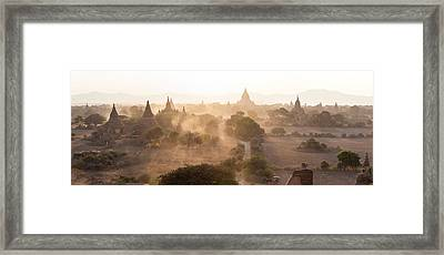 Ancient Temples At Sunset, Bagan Framed Print by Panoramic Images