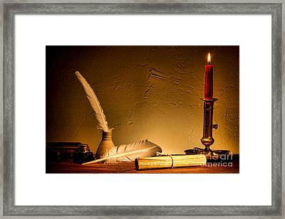 Ancient Texting Framed Print