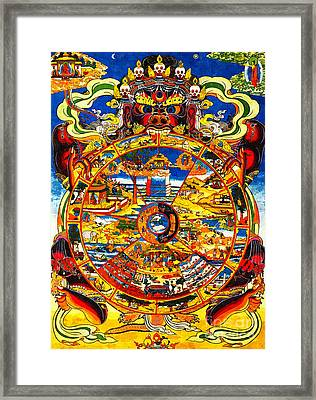 Ancient Tibetan Tangka Wheel Of Life Framed Print