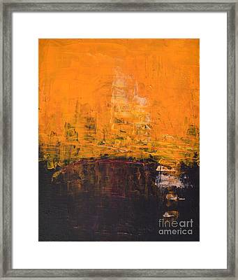 Ancient Wisdom Orange Brown Abstract By Chakramoon Framed Print by Belinda Capol