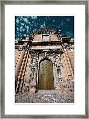 Ancient Wood Church Door With Iron Hinges Framed Print by Stefano Senise