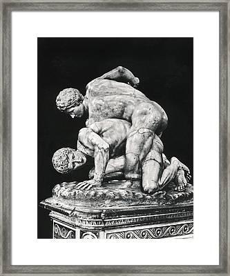 Ancient Wrestling Sculpture Framed Print