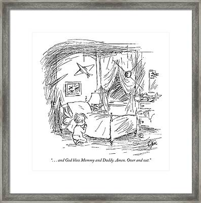 ...and God Bless Mommy And Daddy. Amen Framed Print by Everett Opie