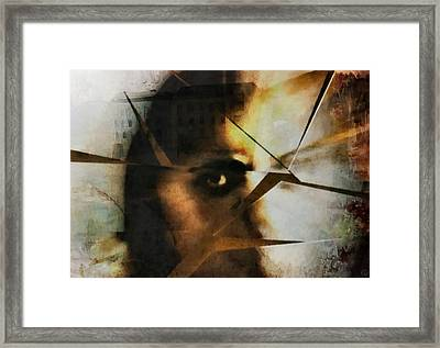 ...and Her World Cracked Framed Print by Gun Legler