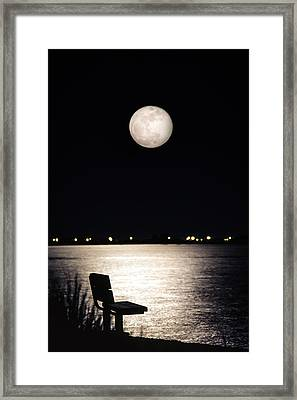 Framed Print featuring the photograph And No One Was There - To See The Full Moon Over The Bay by Gary Heller