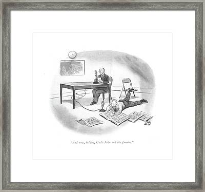 And Now, Kiddies, Uncle John And The Funnies Framed Print by Carl Rose