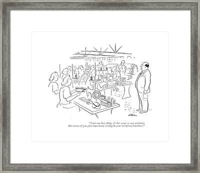 And One Last Thing. It Has Come To My Attention Framed Print by  Alain