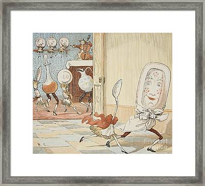 And The Dish Ran Away With The Spoon Framed Print by Randolph Caldecott