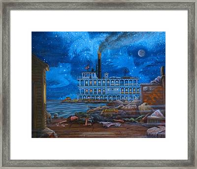 And The Only Time He Is Satisfied ... Framed Print