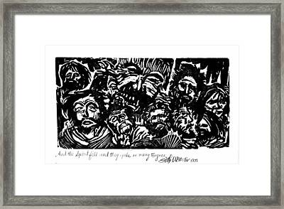 Framed Print featuring the drawing And The Spirit Fell by Seth Weaver