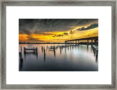 And The Water Caught Fire Framed Print by Edward Kreis