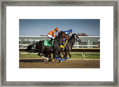Framed Print featuring the photograph And They're Off #2 by Phil Abrams
