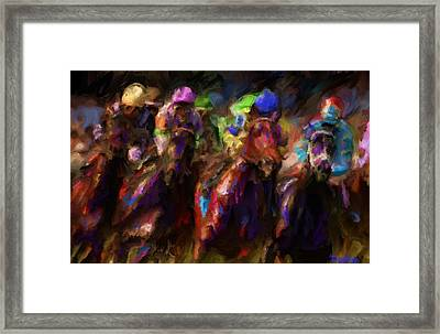 And They're Off Framed Print by Preston Sandlin