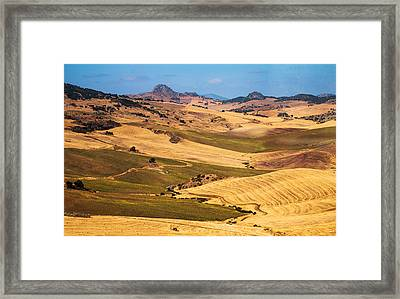 Andalusian Patchwork Fields I. Spain Framed Print by Jenny Rainbow
