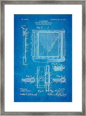 Anderson Windshield Wiper Patent Art 1903 Blueprint Framed Print by Ian Monk