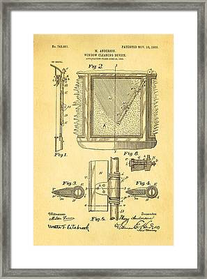 Anderson Windshield Wiper Patent Art 1903 Framed Print by Ian Monk