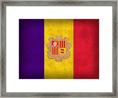 Andorra Flag Vintage Distressed Finish Framed Print by Design Turnpike
