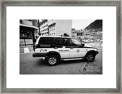 Andorra Police Service Patrol Vehicle Andorra La Vella Andorra Framed Print by Joe Fox