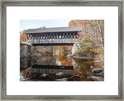Andover Covered Bridge Framed Print by Edward Fielding