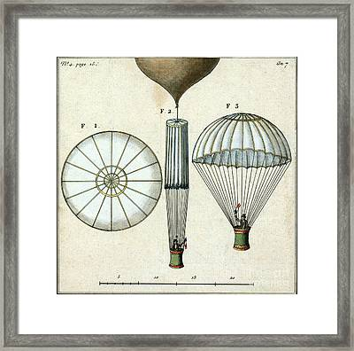 Andre Jacques Garnerins Parachute 1797 Framed Print by Science Source