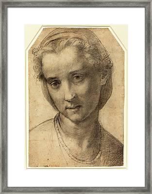 Andrea Del Sarto Italian, 1486 - 1530, Head Of A Woman Framed Print