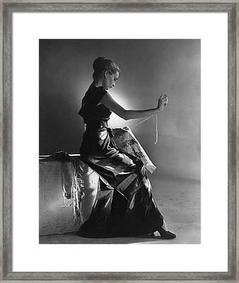 Andrea Johnson Wearing A Striped Dress Framed Print by Cecil Beaton