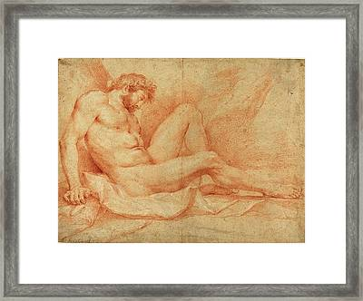Andrea Sacchi, Italian 1599-1661, Academic Nude Study Framed Print by Litz Collection