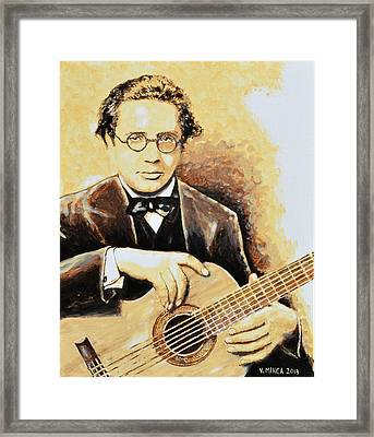 Andres Segovia Framed Print by Victor Minca