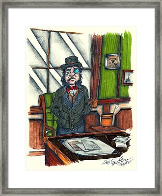 Andrew C. At His Desk Framed Print by Geoffrey Walker