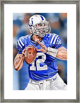 Andrew Luck Sketch Card Framed Print by Joshua Jacobs