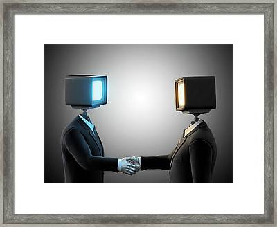 Androids Shaking Hands Framed Print by Andrzej Wojcicki