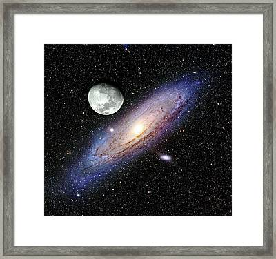 Andromeda Galaxy And Moon Framed Print by Adam Block/mount Lemmon Skycenter/university Of Arizona